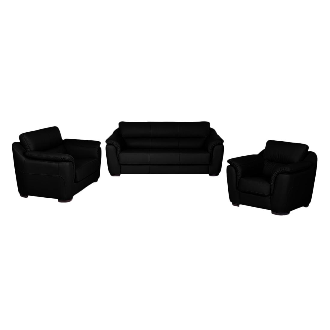 Canapé panoramique Alzira (3 -2 -1) - Cuir synthétique noir, Nuovoform