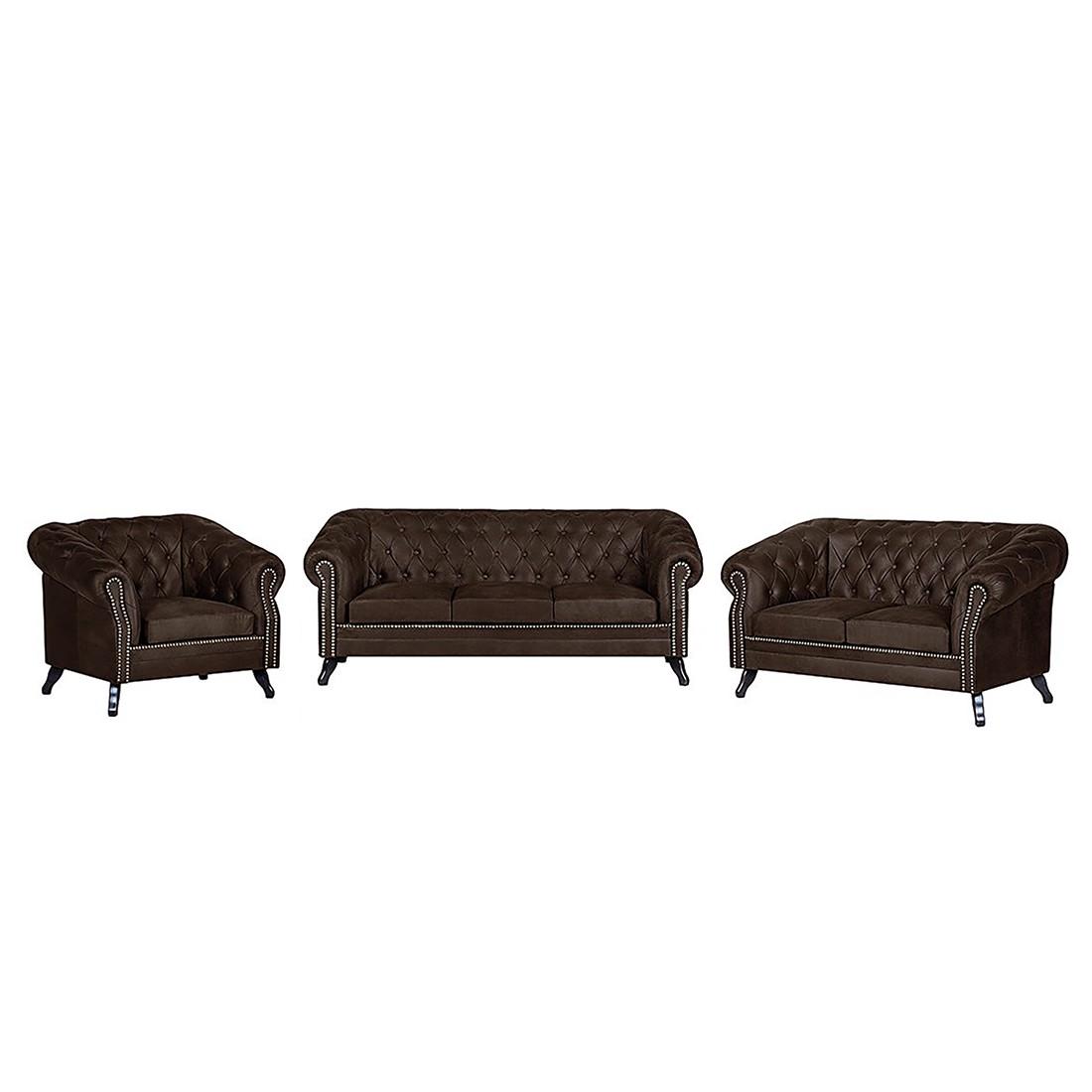 Canapé panoramique Benavente (3 -2 -1) - Aspect vieux cuir marron foncé, ars manufacti