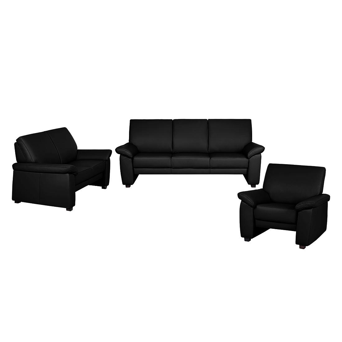 Canapé panoramique Grimsby (3 -2 -1) - Cuir synthétique noir, Nuovoform