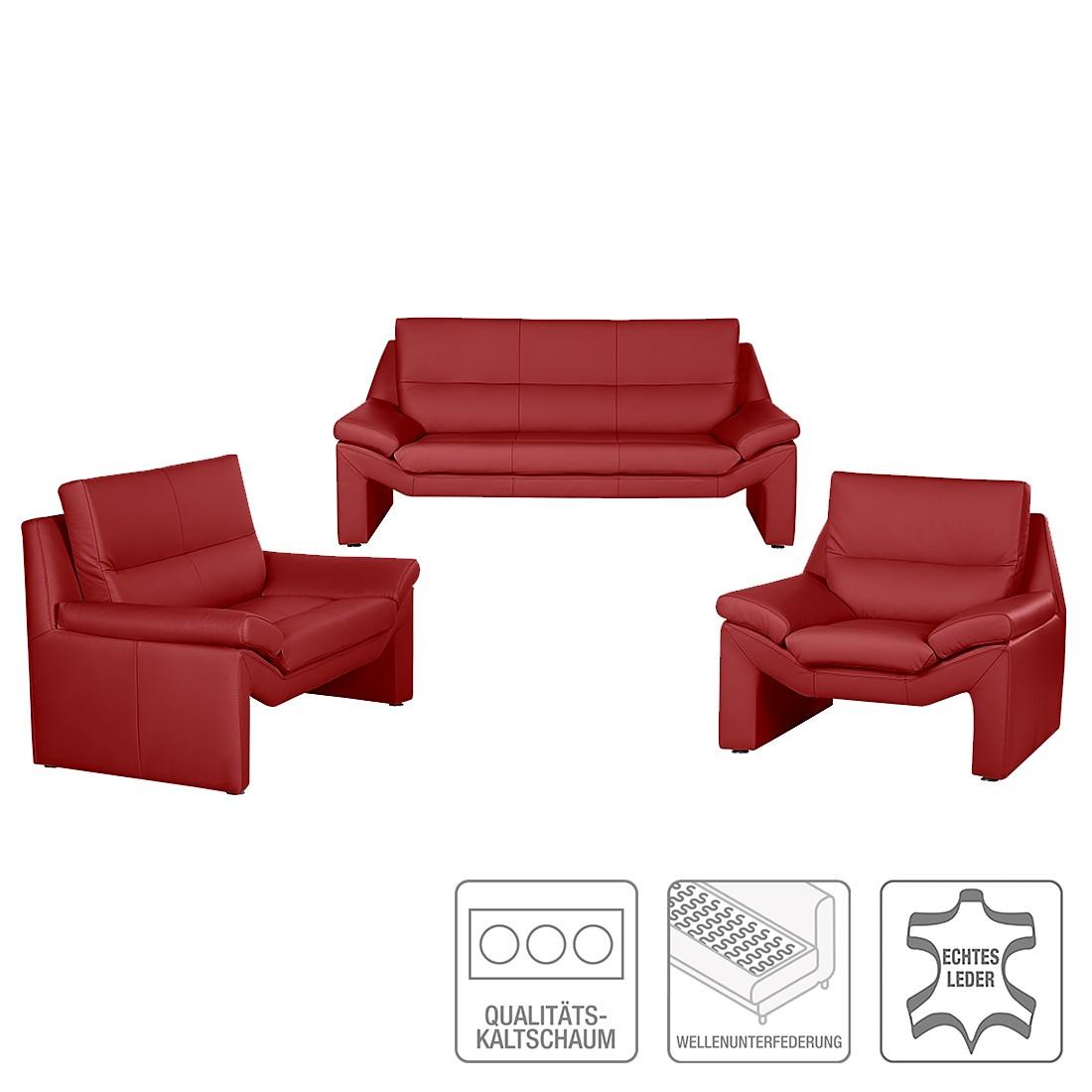 Canapé panoramique Longford (3 - 2 - 1) - Cuir véritable rouge, Nuovoform