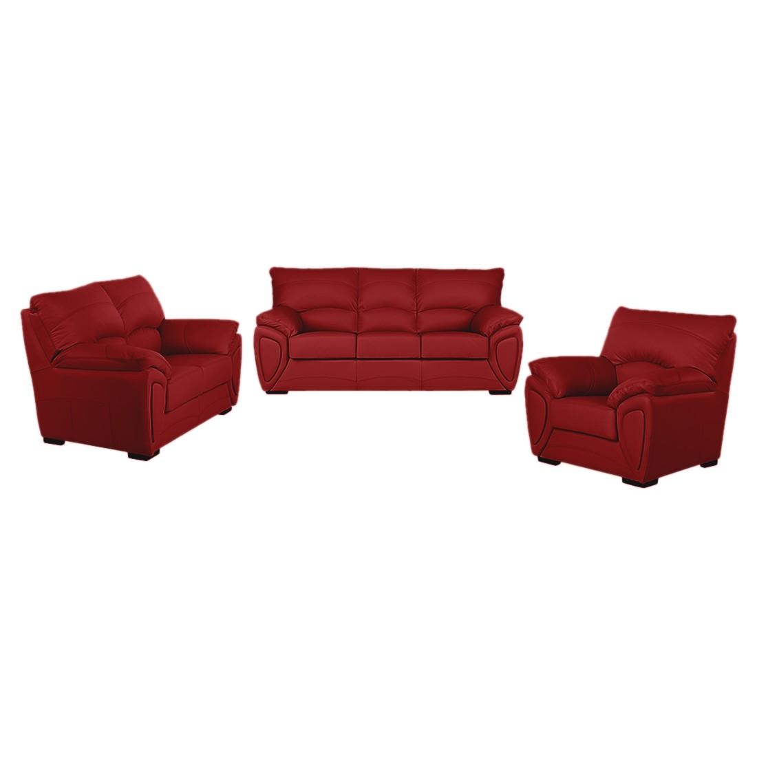 Bankenset Luzzi (3-zitsbank, 2-zitsbank en fauteuil) - rood echt leer, Nuovoform