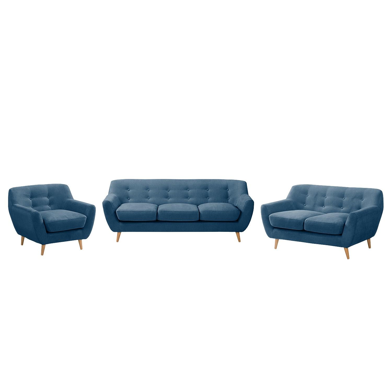 Bankstellen Rometta (3-zitsbank, 2-zitsbank, fauteuil) - microvezel - Jeansblauw, Morteens