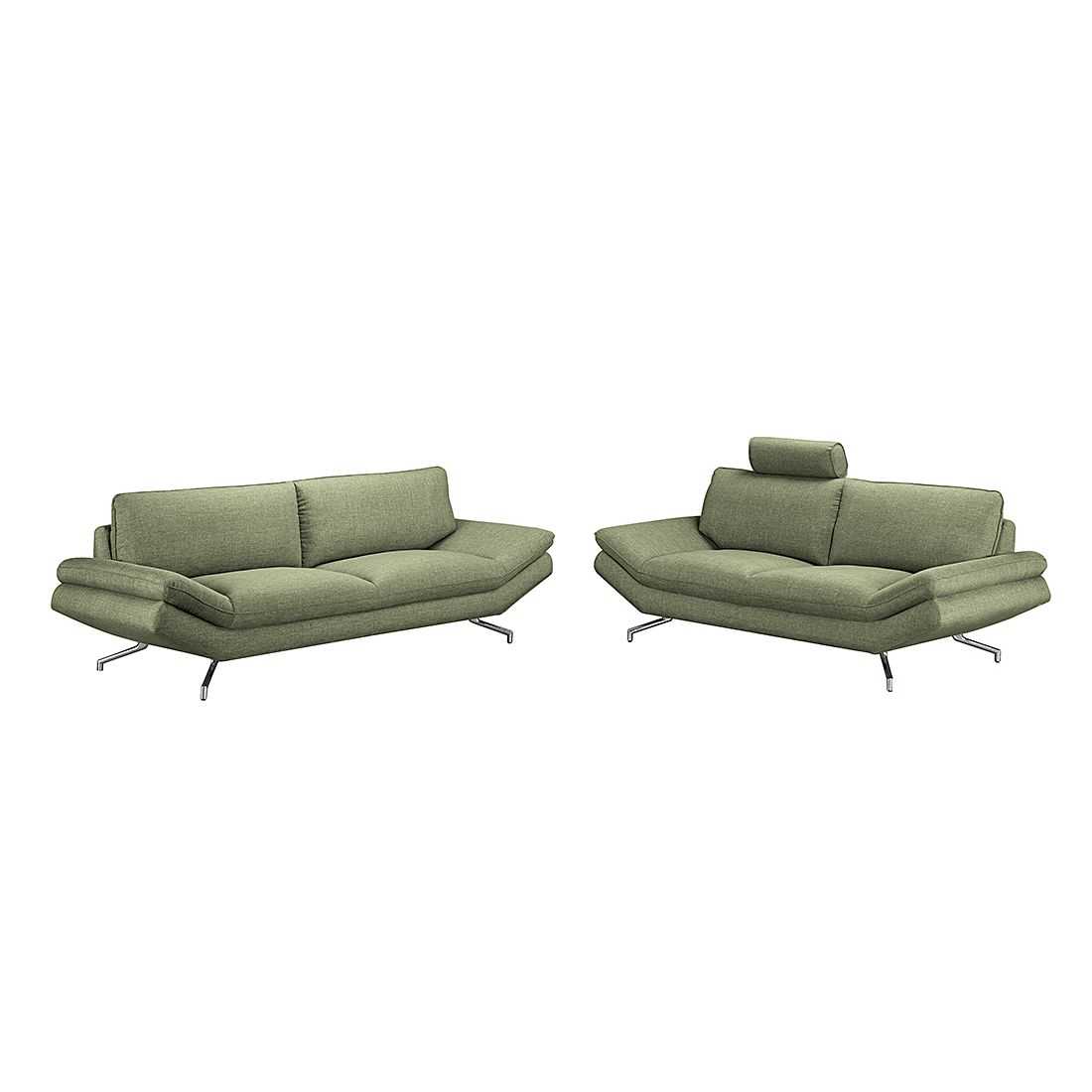 Meubelset Sharon (3 & 2,5-zitsbank) - groene geweven stof - met 2 hoofdsteunen, loftscape