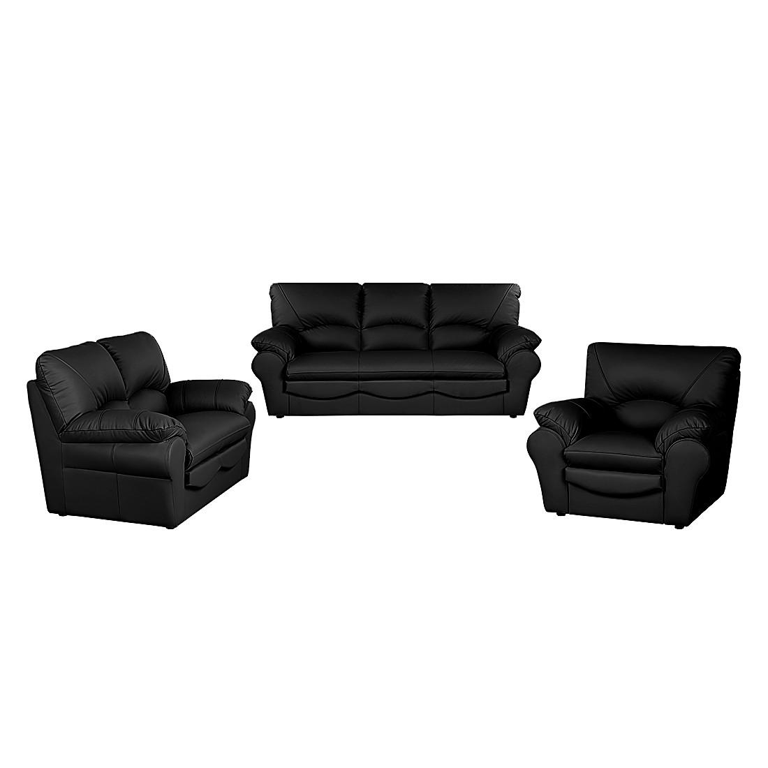 Canapé panoramique Torsby (3 - 2 - 1) - Cuir véritable noir, Nuovoform