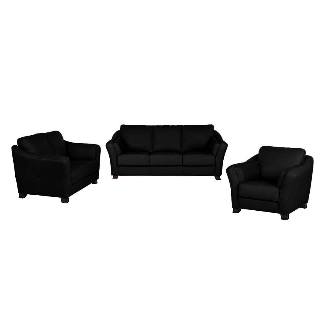 Canapé panoramique Toucy (3 -2 -1) - Cuir synthétique noir, Nuovoform