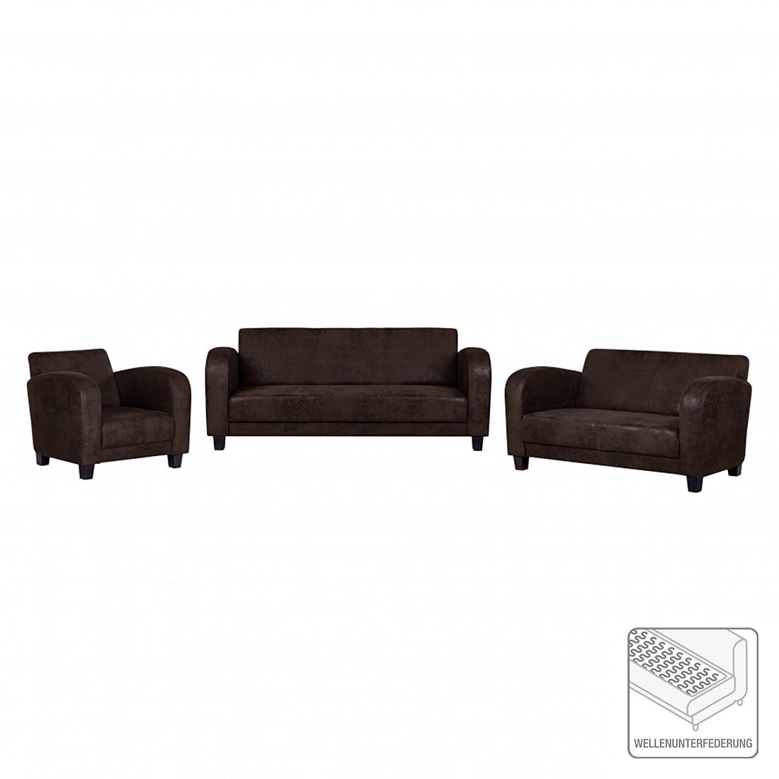 Canapé panoramique Tullow (3 -2 -1) - Aspect vieux cuir marron foncé, ars manufacti