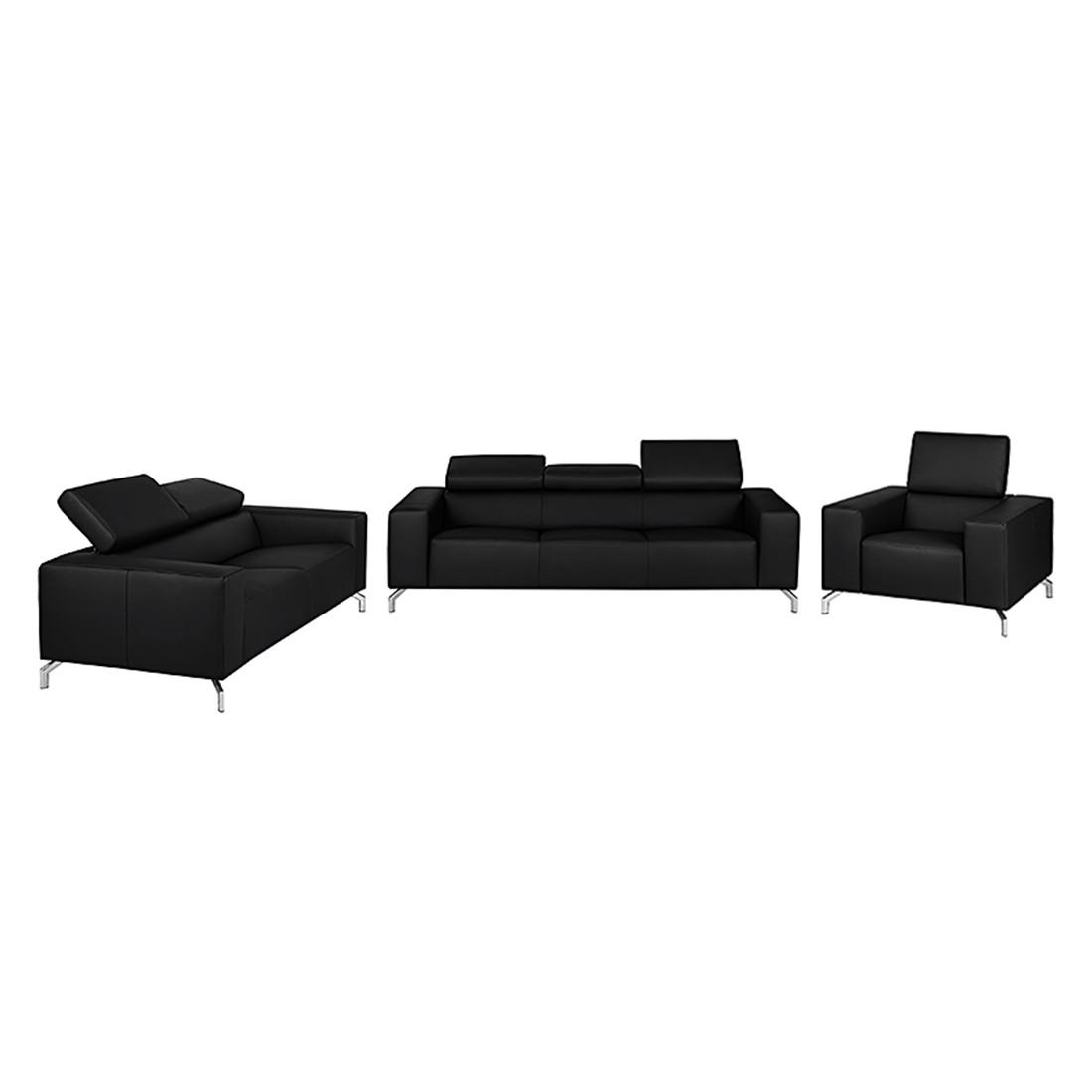 Canapé panoramique Varberg (3 -2 -1) - Cuir véritable noir, loftscape