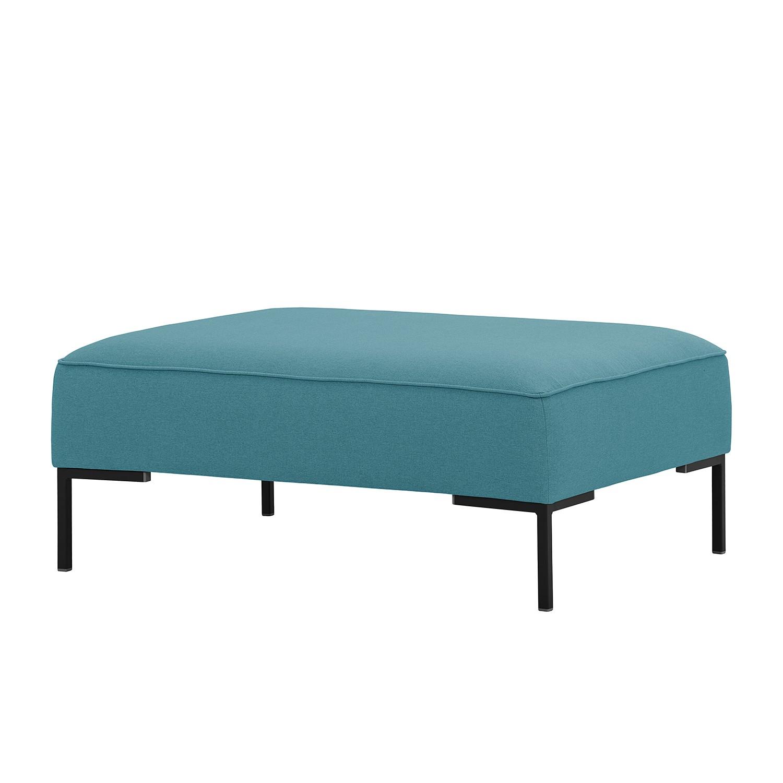 Home 24 - Repose-pieds ampio - tissu - noir - tissu naya turquoise, studio copenhagen