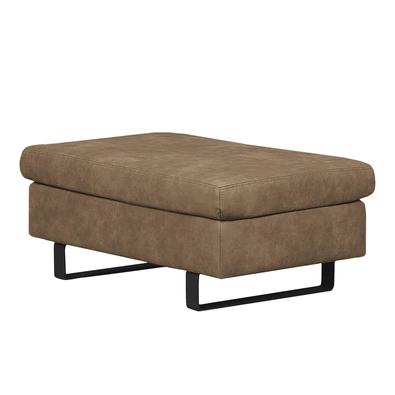 Pouf repose pieds yovanna aspect cuir vieilli limon ars manufacti meubles en ligne for Pouf cuir vieilli
