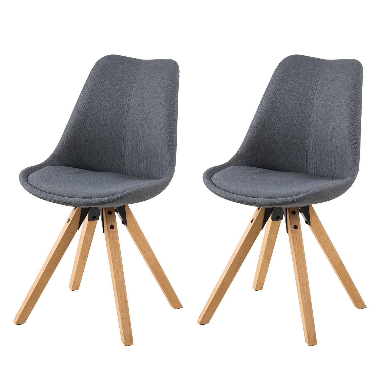 Gestoffeerde stoelen Aledas II (2-delige set) - geweven stof/massief rubberboomhout - Donkergrijs, Morteens