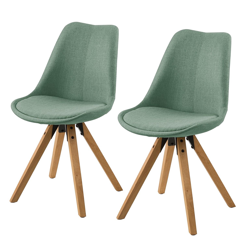 Gestoffeerde stoelen Aledas II (2-delige set) - geweven stof/massief rubberboomhout - Mintgrijs, Morteens
