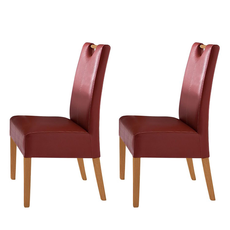 Gestoffeerde stoelen Alessia (2-delige set) - Donkerrood/beukenhoutkleurig, Bellinzona