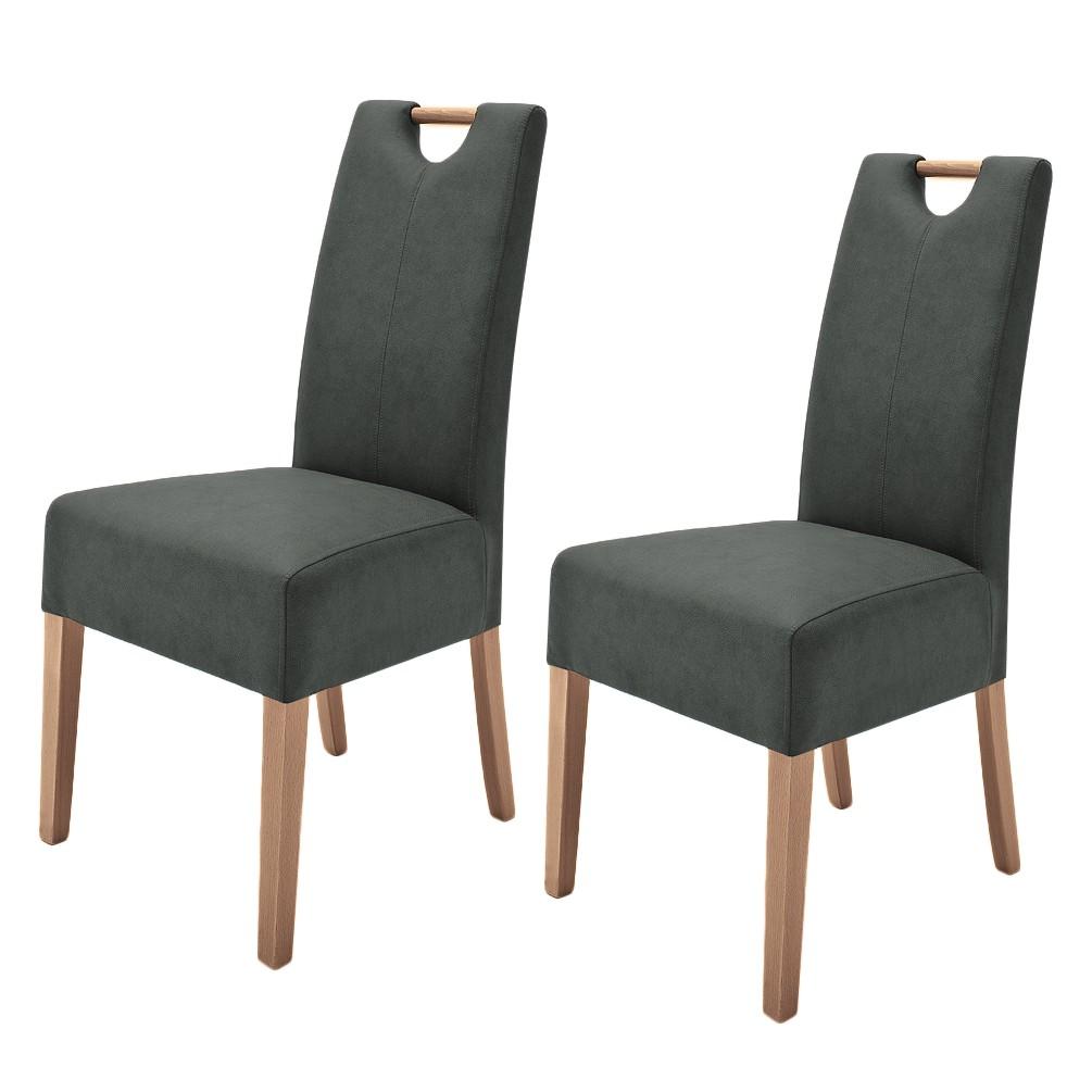 Gestoffeerde stoelen Alessia II (2-delige set) - kunstleer - Antracietkleurig/eikenhout, roomscape