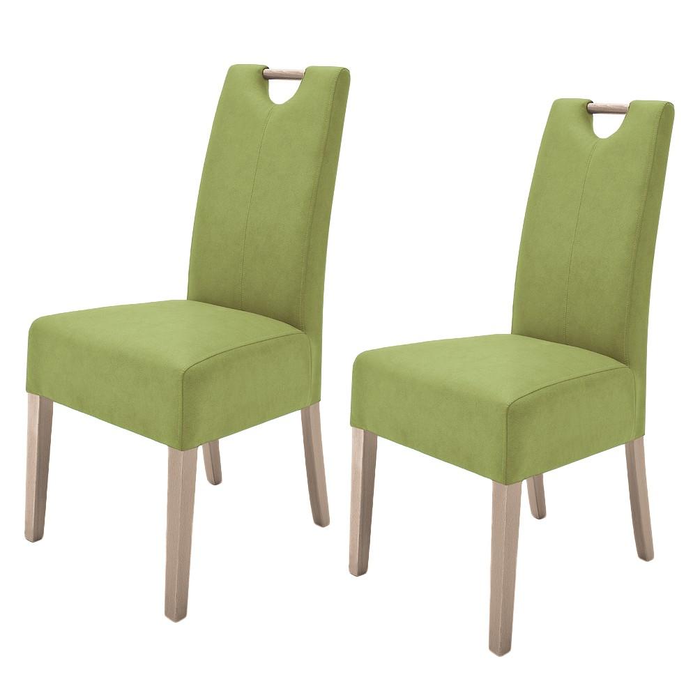 Gestoffeerde stoelen Alessia II (2-delige set) - kunstleer - Kiwigroen/Sonoma eikenhoutkleurig, roomscape