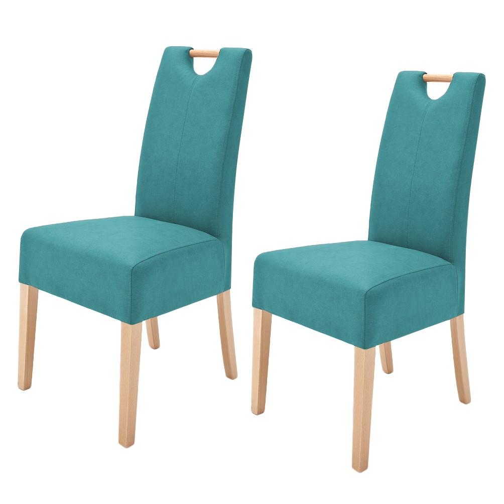 Gestoffeerde stoelen Alessia II (2-delige set) - kunstleer - Petrolblauw/beukenhout, roomscape