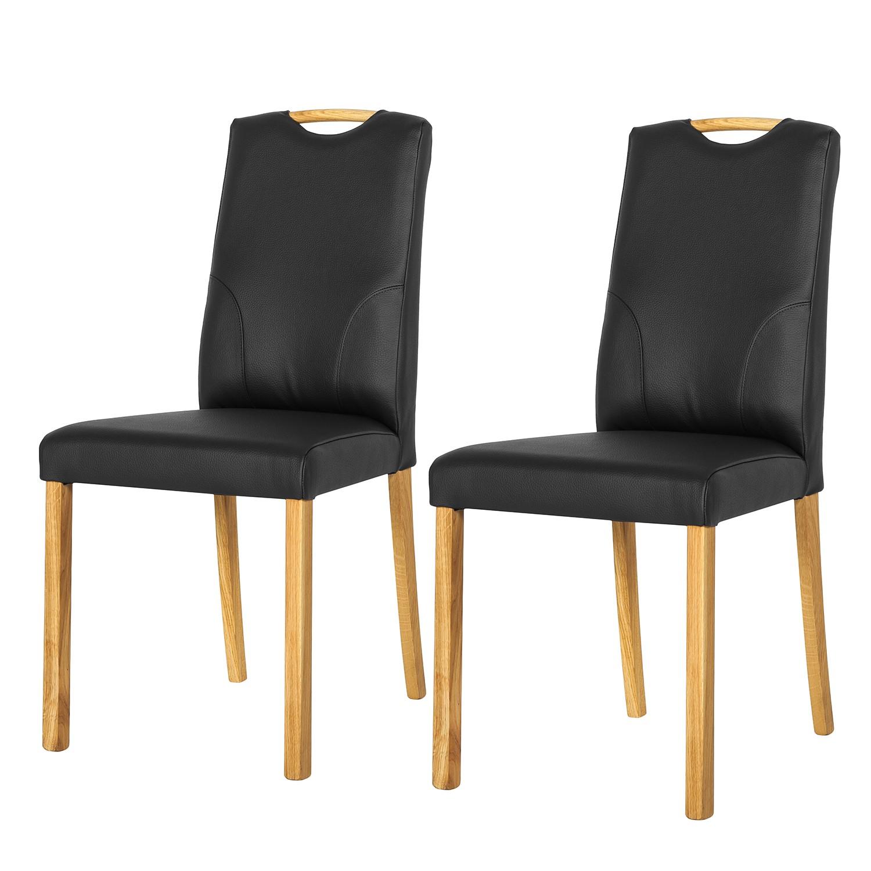 Gestoffeerde stoelen Ameros II (2-delige set) - echt leer - Zwart, Bellinzona