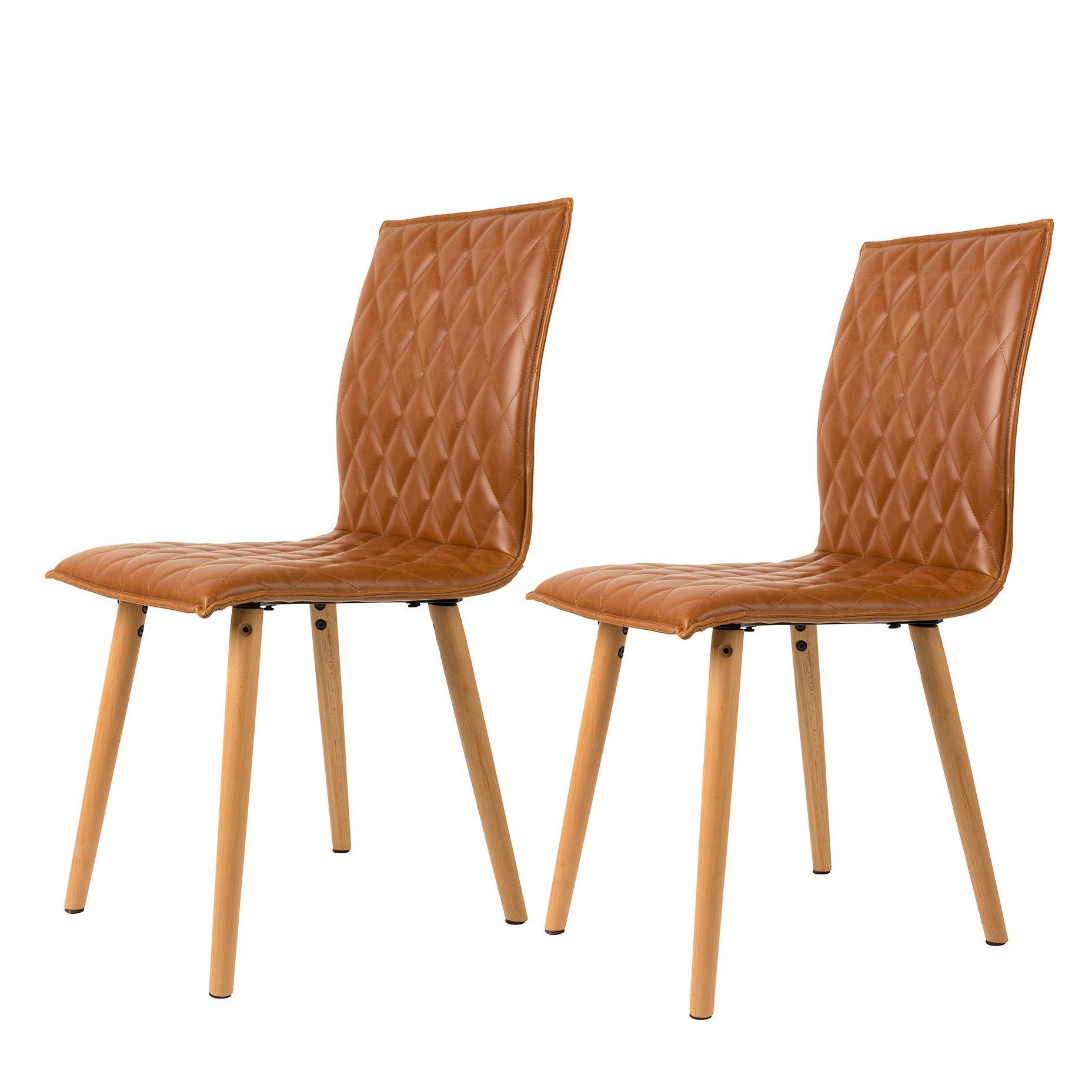 Gestoffeerde stoelen Andy (2-delige set) - kunstleer - Honingbruin, Zuiver