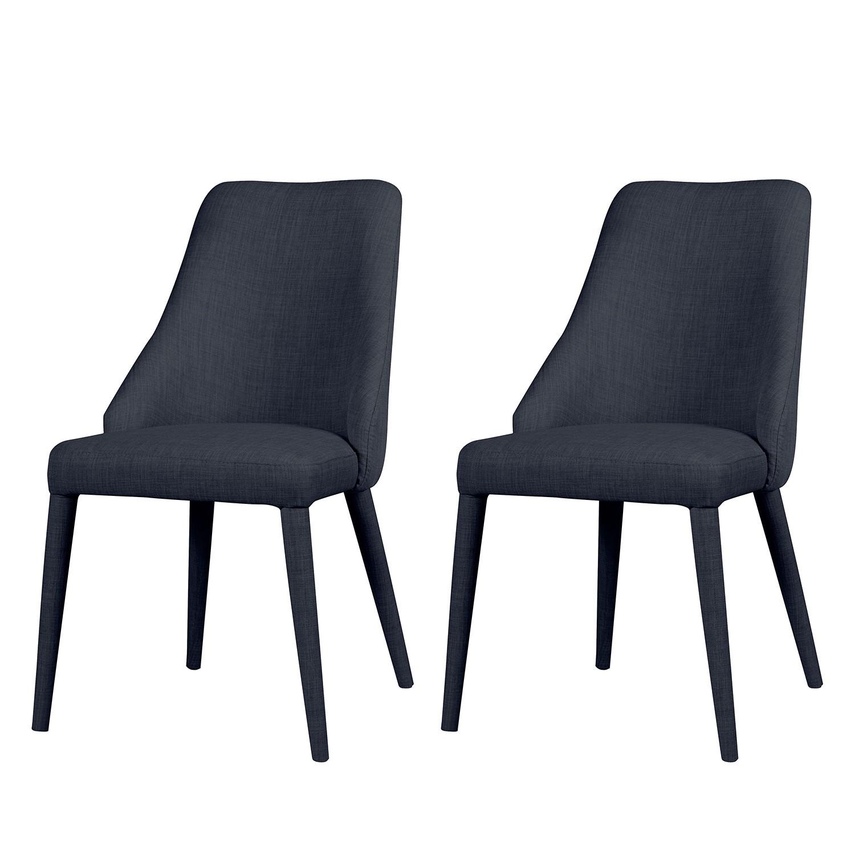 chaise rembourr e berit i lot de 2 tissu m tal tissu konya gris fonc morteens par. Black Bedroom Furniture Sets. Home Design Ideas