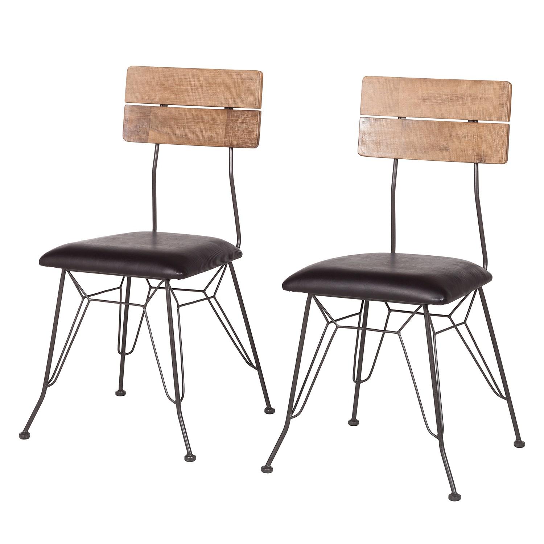 Gestoffeerde stoelen Beton II (2-delige set) - kunstleer/massief acaciahout, ars manufacti