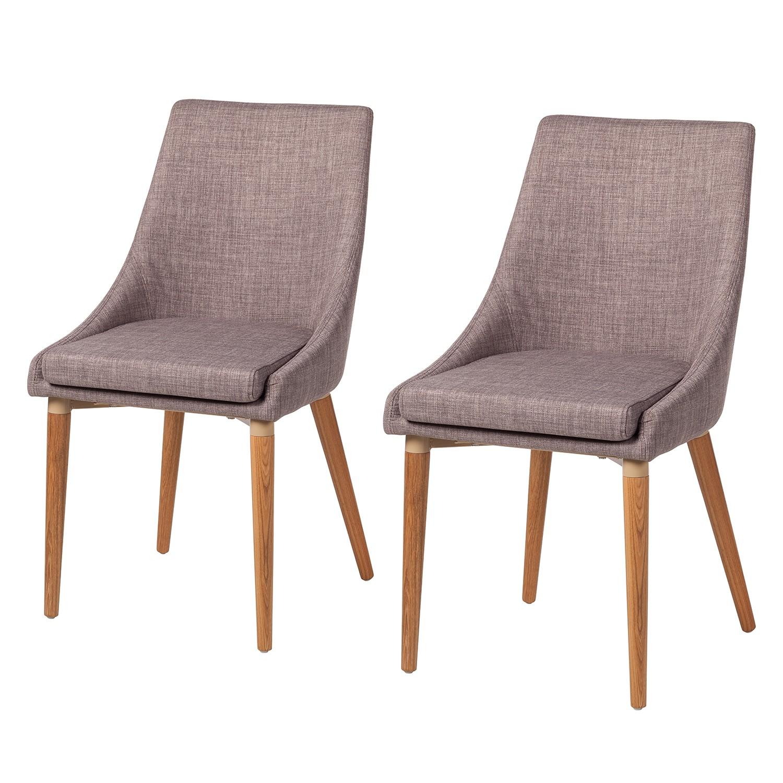 Gestoffeerde stoelen Brea (2-delige set) - geweven stof/essenhout - Lichtgrijs, Morteens