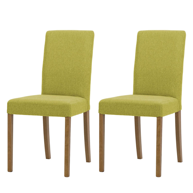 Gestoffeerde stoelen Corinna (2-delige set) - geweven stof - Eikenhout - Stof Suria Lichtgroen, Fredriks