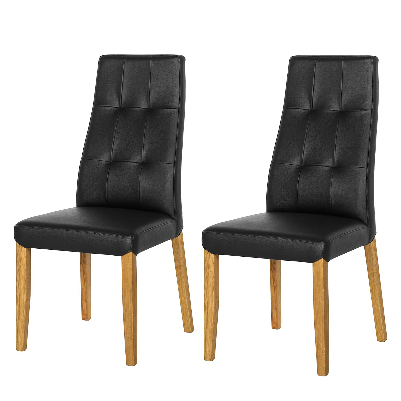 chaise rembourr e elanas lot de 2 cuir v ritable. Black Bedroom Furniture Sets. Home Design Ideas