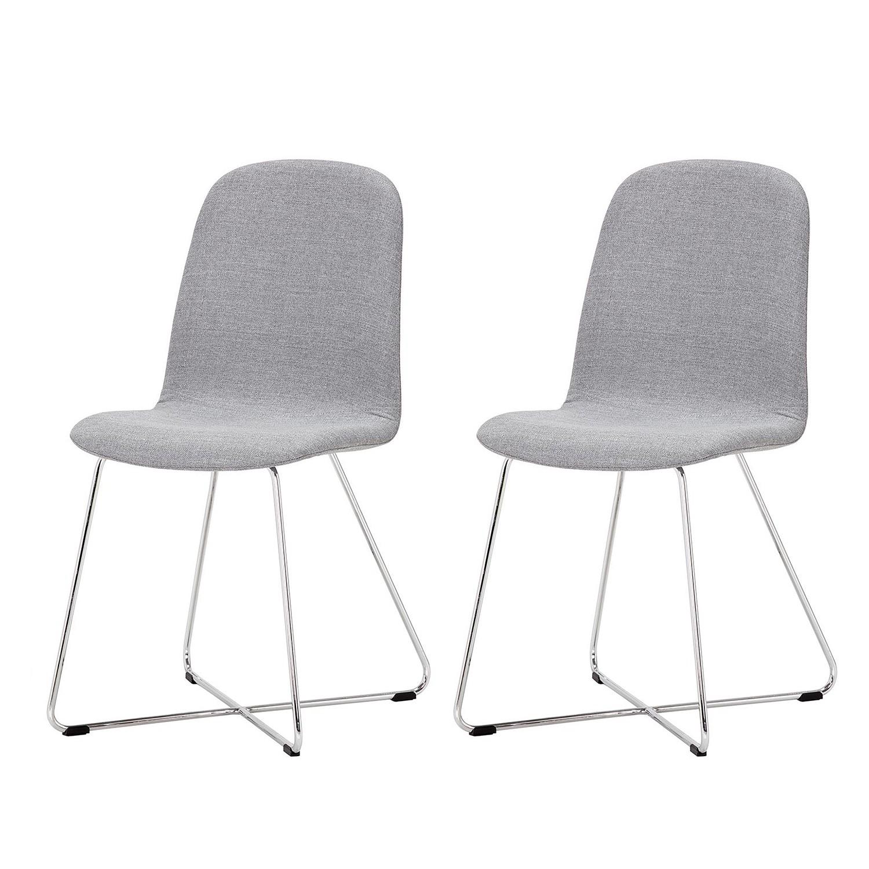 Gestoffeerde stoelen Eske I (2-delige set) - geweven stof/verchroomd staal - Stof Vesta Grijs, Studio Copenhagen