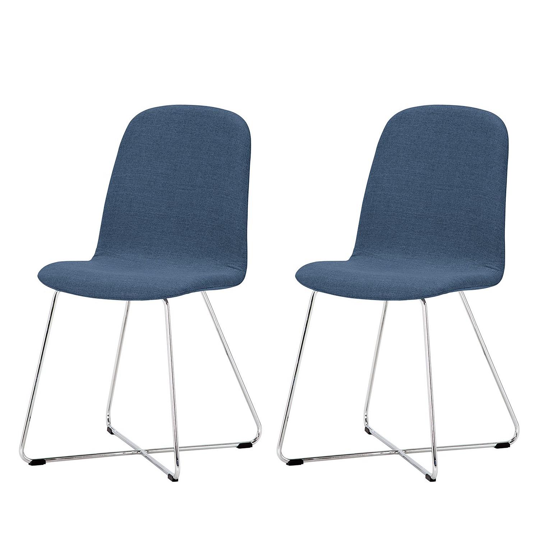 Gestoffeerde stoelen Eske I (2-delige set) - geweven stof/verchroomd staal - Stof Vesta Lichtblauw, Studio Copenhagen