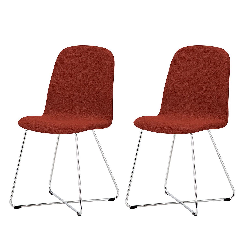 Gestoffeerde stoelen Eske I (2-delige set) - geweven stof/verchroomd staal - Stof Vesta Rood, Studio Copenhagen