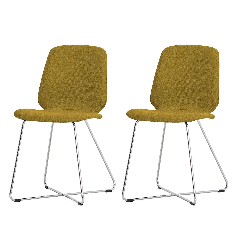 Gestoffeerde stoelen Eske II (2-delige set) - geweven stof/verchroomd metaal - Stof Vesta Geel, Studio Copenhagen