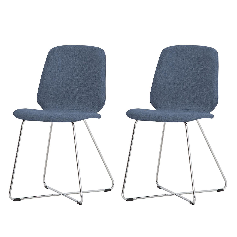 Gestoffeerde stoelen Eske II (2-delige set) - geweven stof/verchroomd metaal - Stof Vesta Lichtblauw, Studio Copenhagen