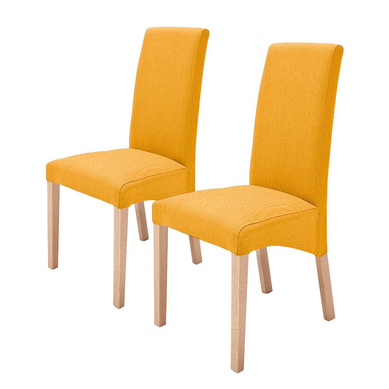 Gestoffeerde stoelen Demius (2-delige set) - geweven stof - Currygeel/natuurlijk beukenhoutkleurig, mooved