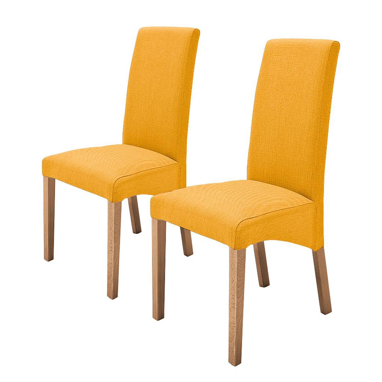 Gestoffeerde stoelen Demius (2-delige set) - geweven stof - Kerriegeel/eikenhoutkleurig, mooved