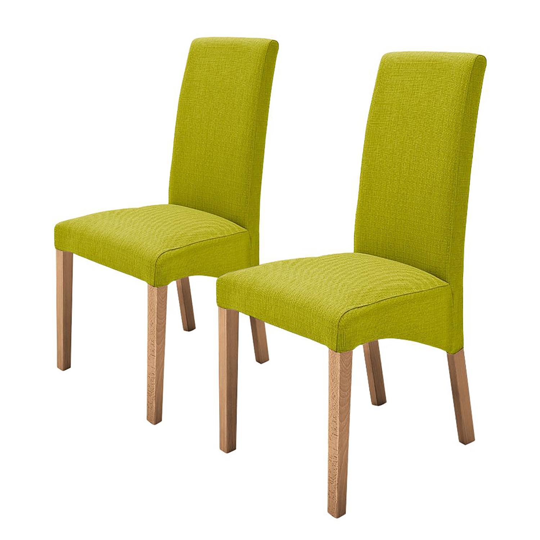 Gestoffeerde stoelen Demius (2-delige set) - geweven stof - Kiwigroen/eikenhoutkleurig, mooved