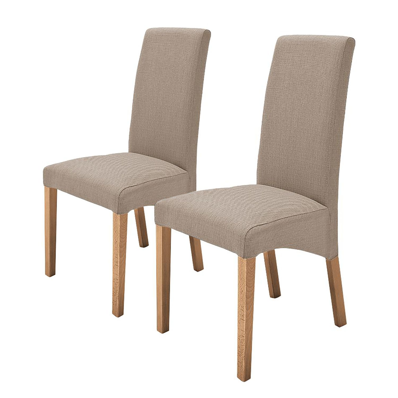Gestoffeerde stoelen Demius (2-delige set) - geweven stof - Taupe/eikenhout, mooved