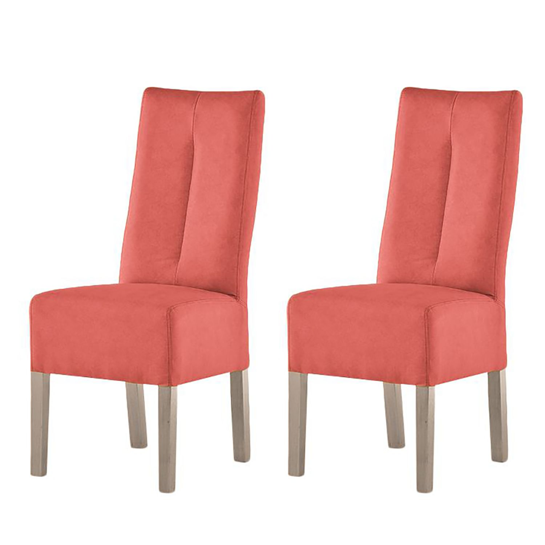 Gestoffeerde stoelen Funny II (2-delige set) - kunstleer - Rood/Sonoma eikenhout, mooved
