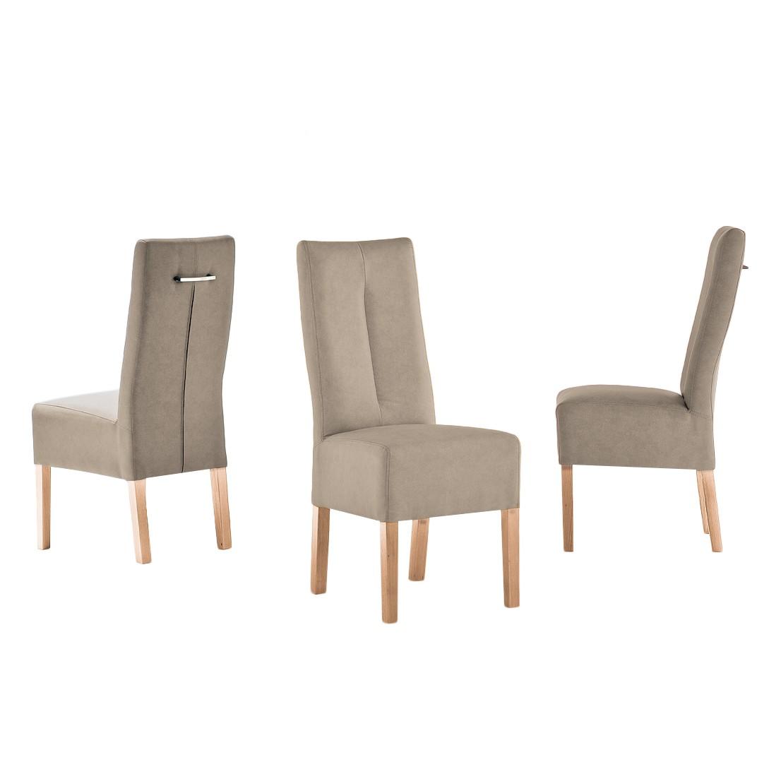 Gestoffeerde stoelen Funny II (2-delige set) - kunstleer - Taupe/beukenhout, Fredriks