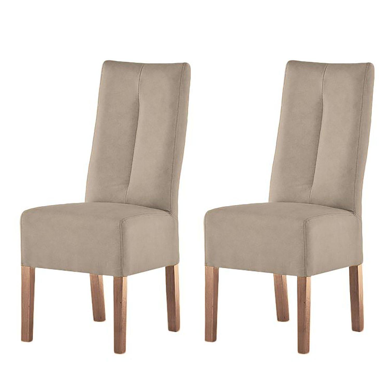 Gestoffeerde stoelen Funny II (2-delige set) - kunstleer - Taupe/eikenhout, mooved