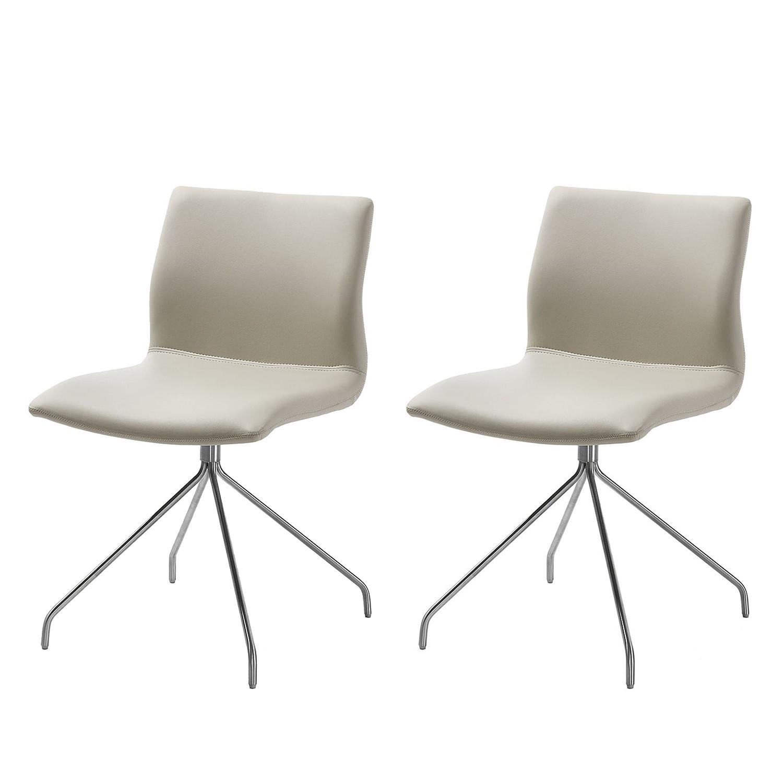 Gestoffeerde stoel Gibril - kunstleer/roestvrij staal - Beige/roestvrij staal, Fredriks