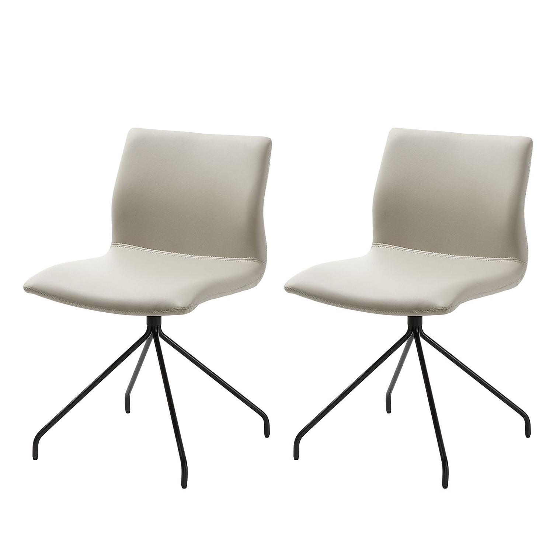 Home 24 - Chaise capitonnée gibril - imitation cuir / acier inoxydable - beige / noir, morteens