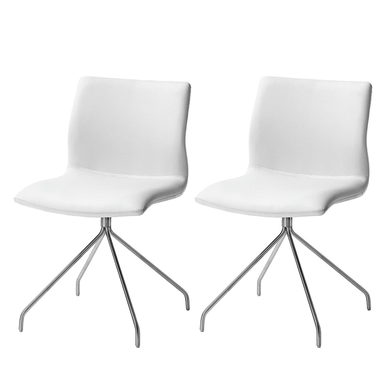 Gestoffeerde stoel Gibril - kunstleer/roestvrij staal - Wit/roestvrij staal, Fredriks