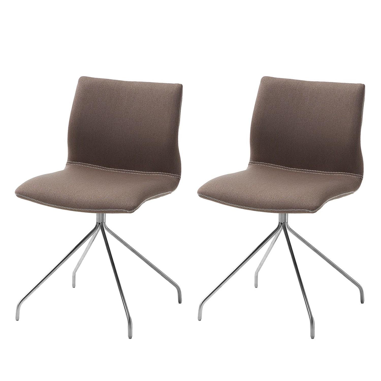 Gestoffeerde stoel Gibrillio - geweven stof/roestvrij staal - Donkerbruin/roestvrij staal, Fredriks