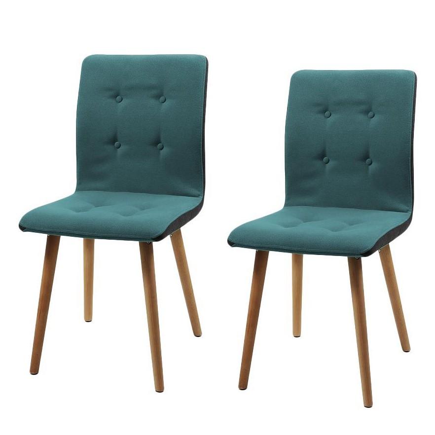 Gestoffeerde stoelen Troon I (2-delige set) - vilt/massief eikenhout - Donkergrijs/petrolblauw, Morteens