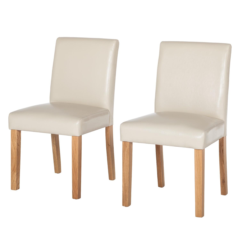 Gestoffeerde stoelen Laurel (2-delige set) - geregenereerd leer - Crème, mooved