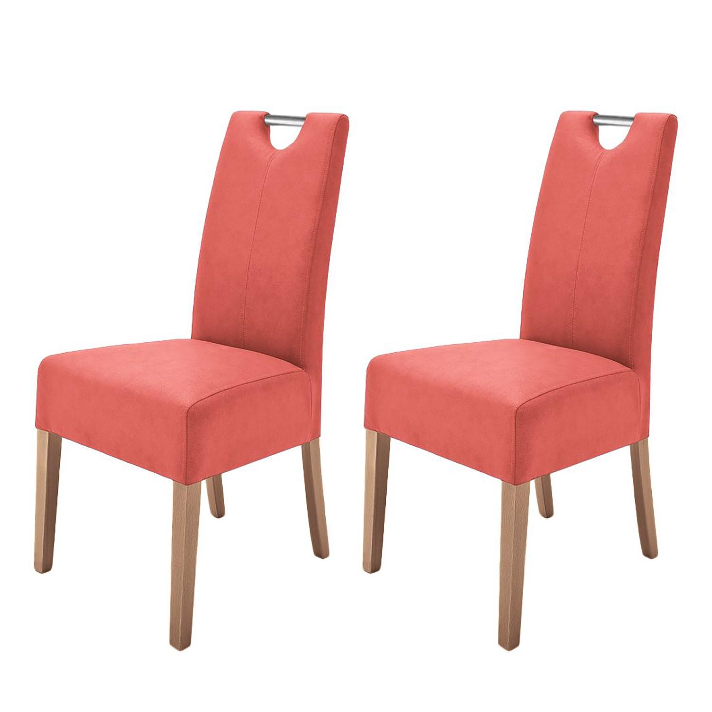 Gestoffeerde stoelen Lenya (2-delige set) - kunstleer - Rood/eikenhout, roomscape