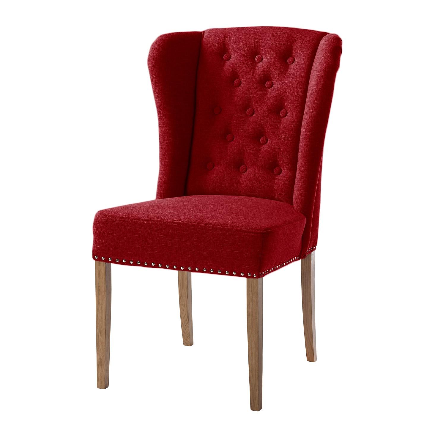 Gestoffeerde stoel Lerona - geweven stof/massief beukenhout - Rood, Maison Belfort