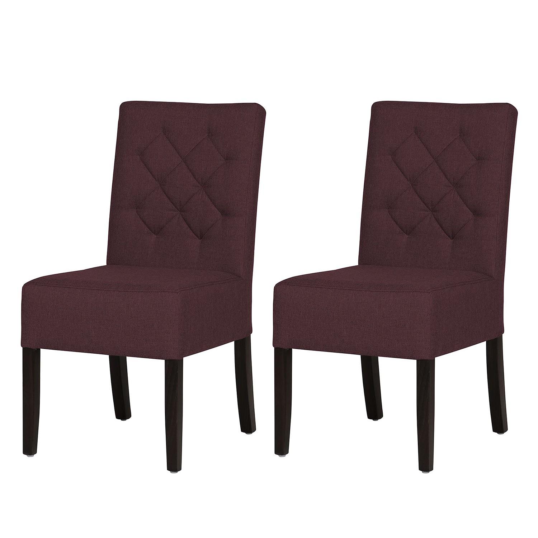 Gestoffeerde stoelen Lilou (2-delige set) - geweven stof - Stof Suria Paars, Maison Belfort