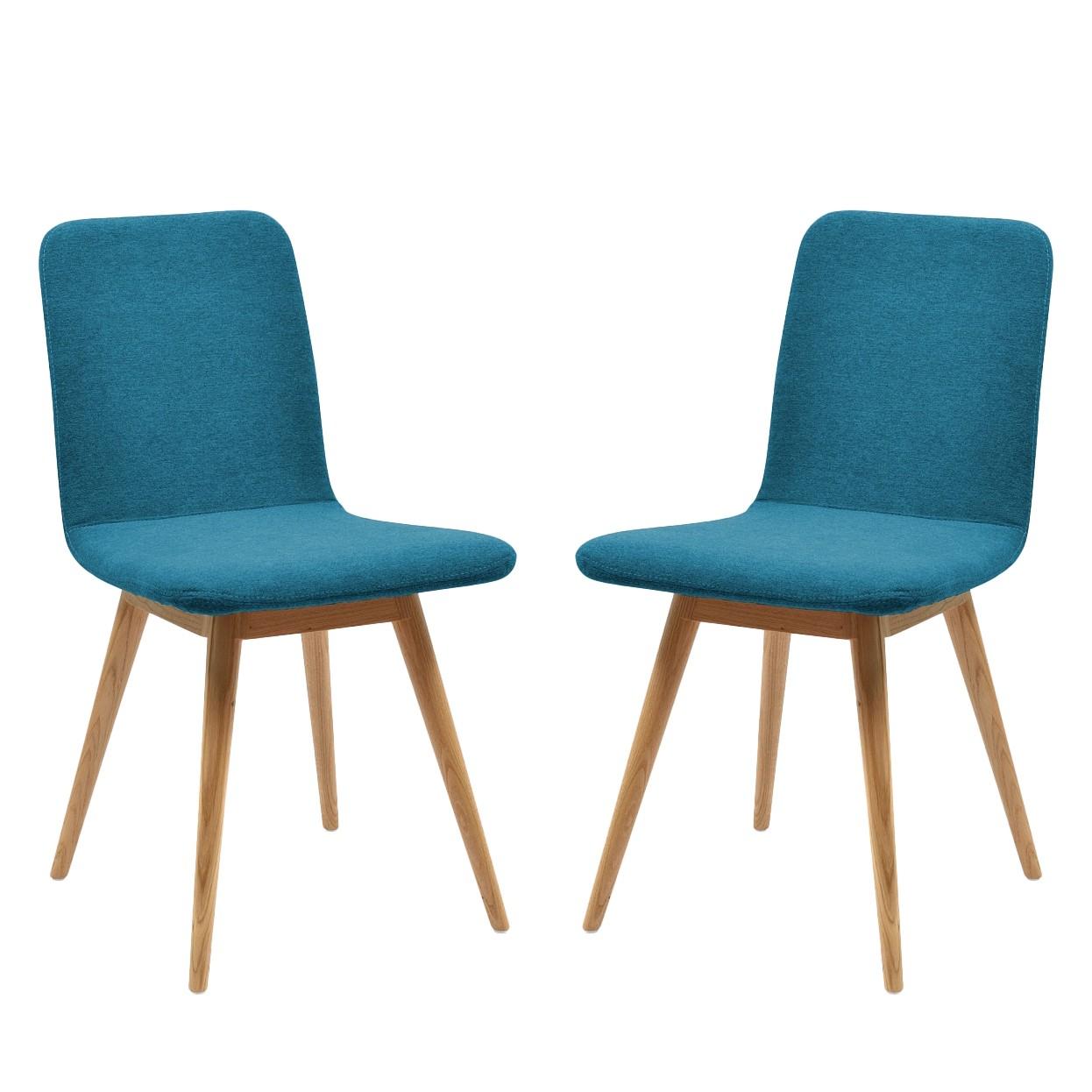 Gestoffeerde stoelen Loca (2-delige set) - massief eikenhout - Stof Gaia Petrolblauw, Studio Copenhagen