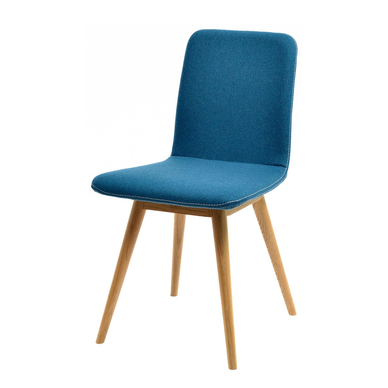 Home 24 - Chaise rembourrée loca (lot de 2) - chêne massif - tissu muya pétrol, studio copenhagen