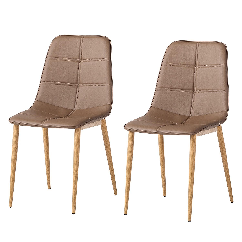 Gestoffeerde stoelen Lykkla (2-delige set) - kunstleer - Cappuccinokleurig, mooved